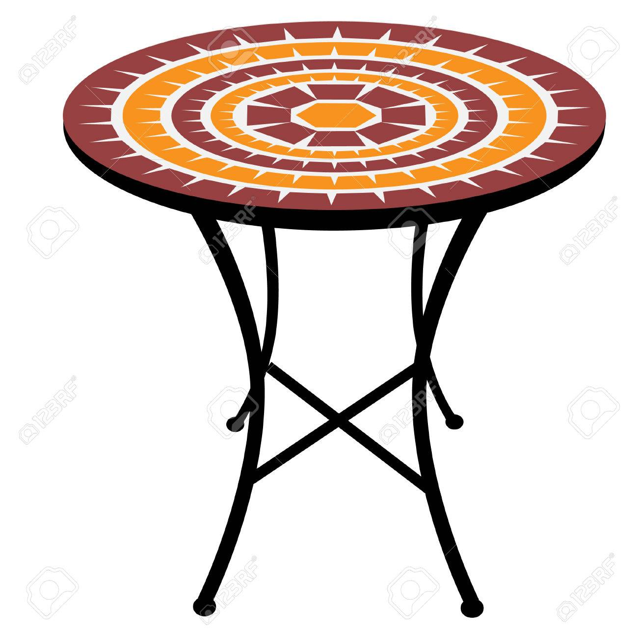 Vintage Outdoor Round Table Vector Isolated Cafeteria Table - Round table clip art