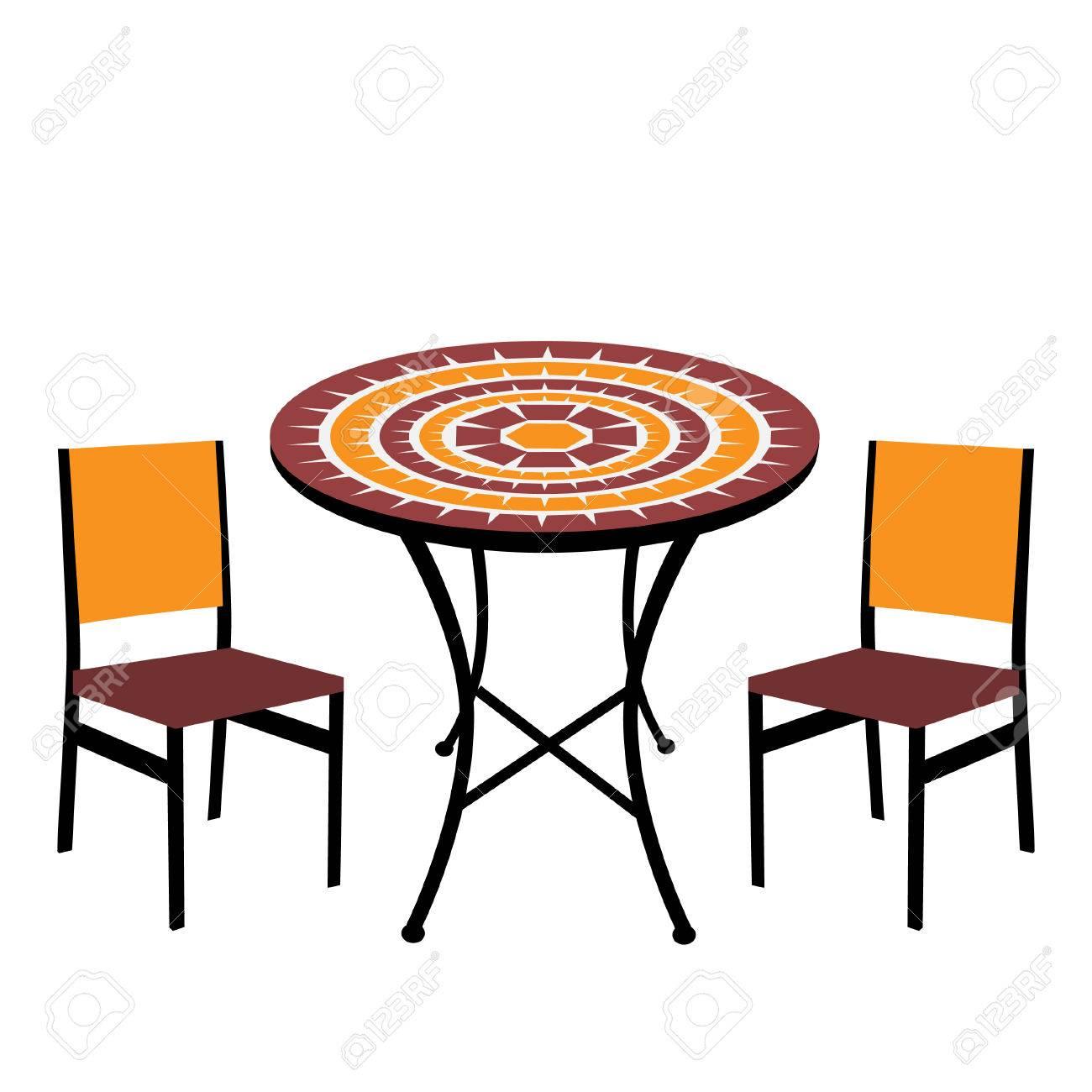 Table de jardin et chaises Vintage isolé, table ronde et des chaises vecteur
