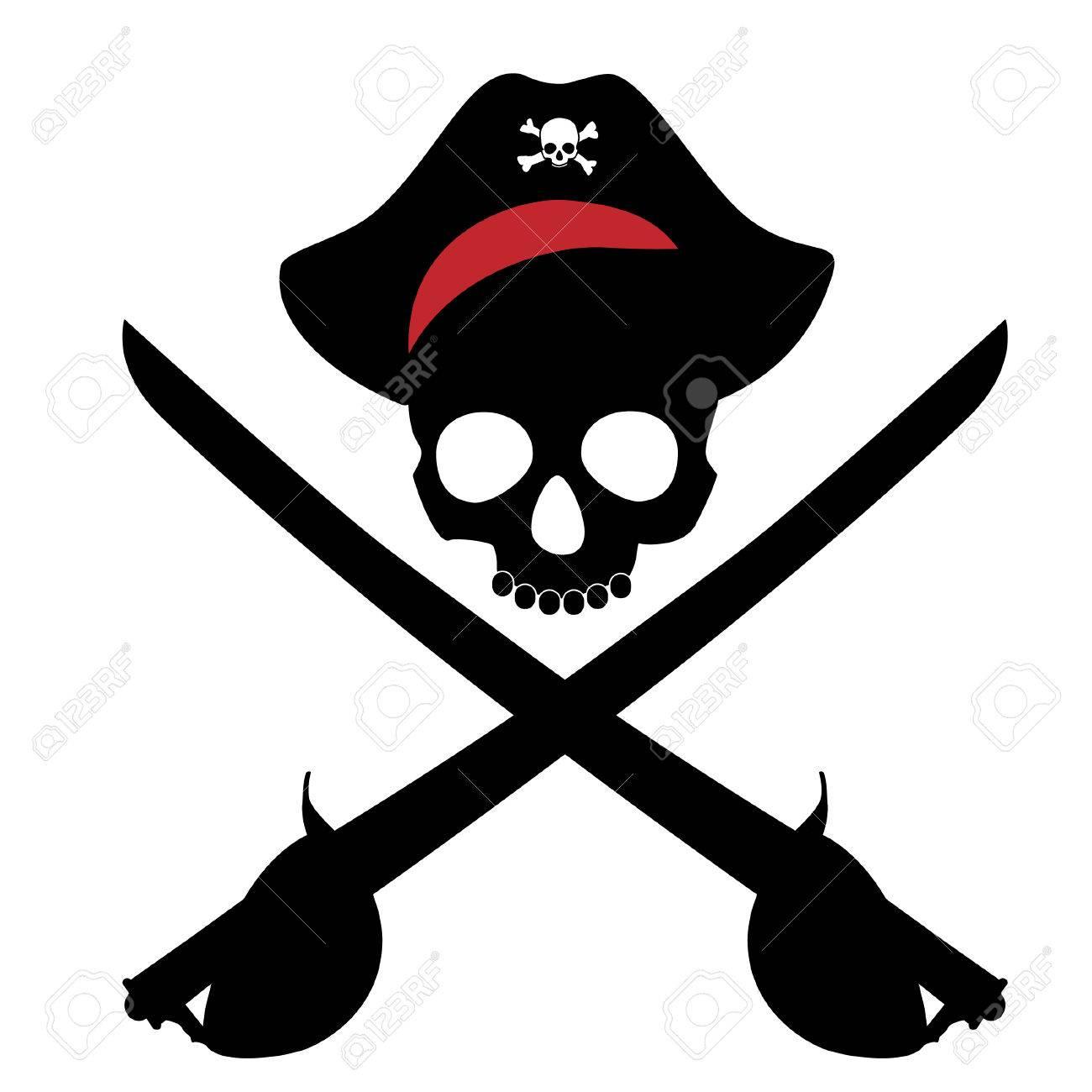 Pirate Skull In Bandana And Two Crossed Sword Cutlass Vector Stock