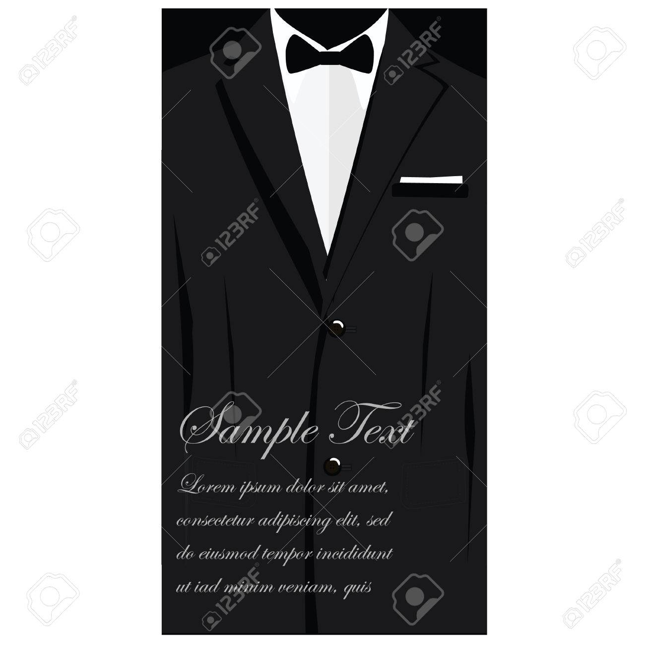 Vector Business Cards With Elegant Suit With Bowtie, Business ...