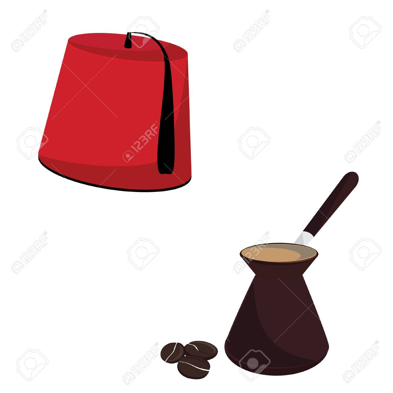 Red turkish hat and coffee pot with coffee beans vector set,