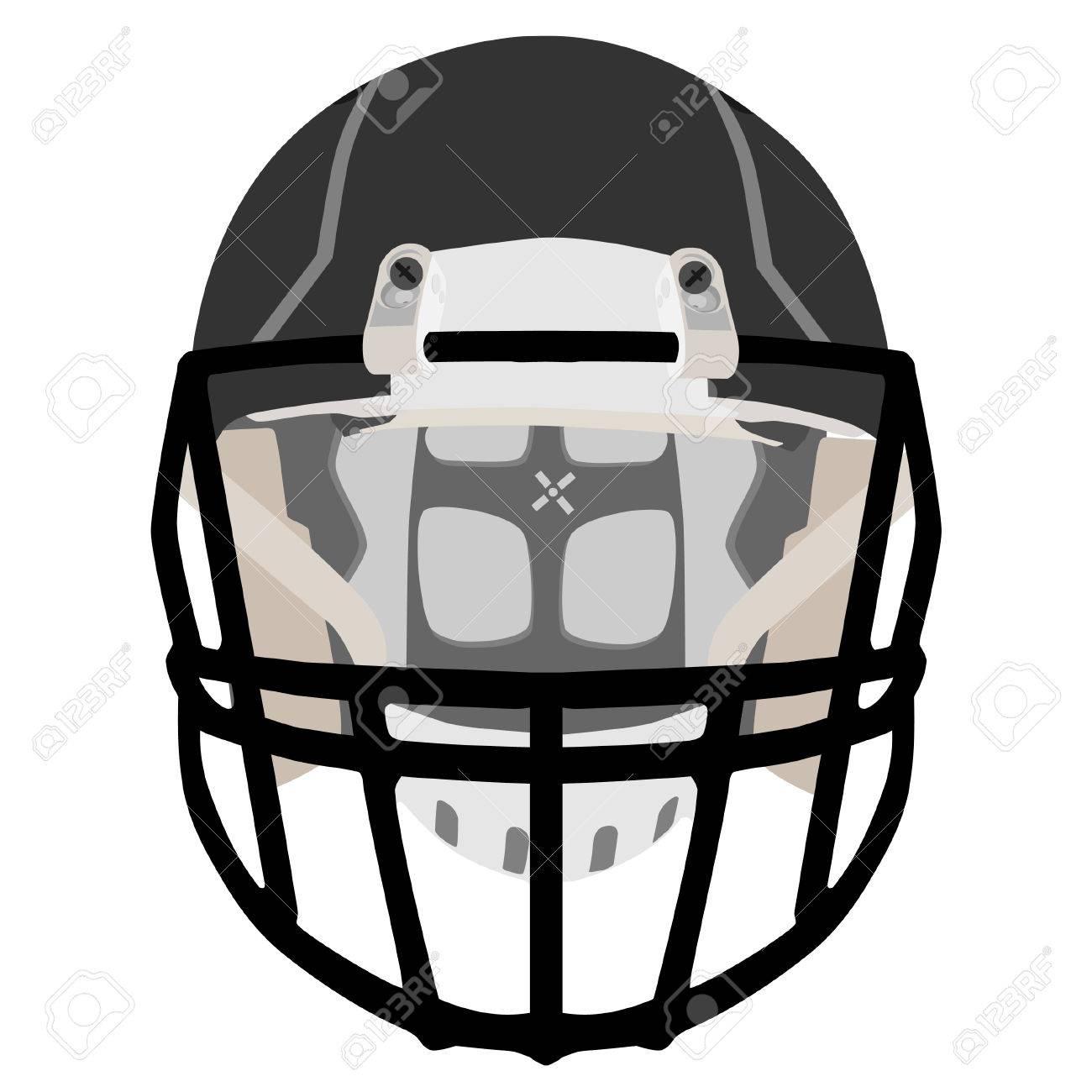 Black American Football Helmet Sport Equipment Outfit Vector