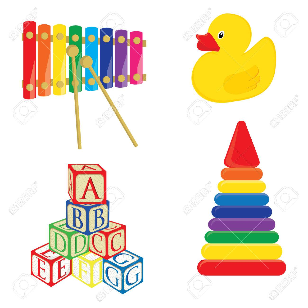 Baby Toys Xylophone, Yellow Rubber Duck, Alphabet Building Blocks ...