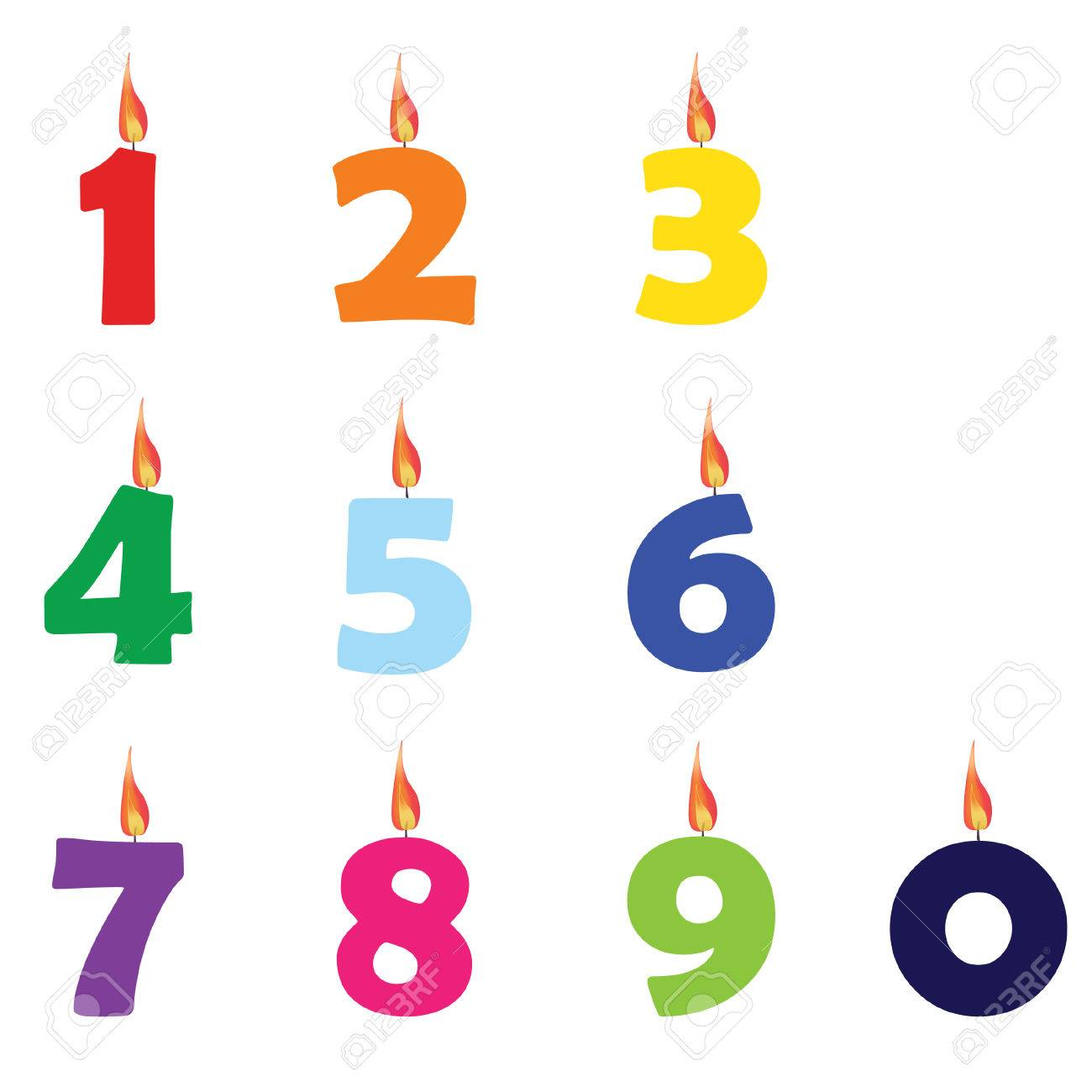 Collection Of Wax Birthday Candles Numbers From Zero To Nine Different Colors Vector Stock