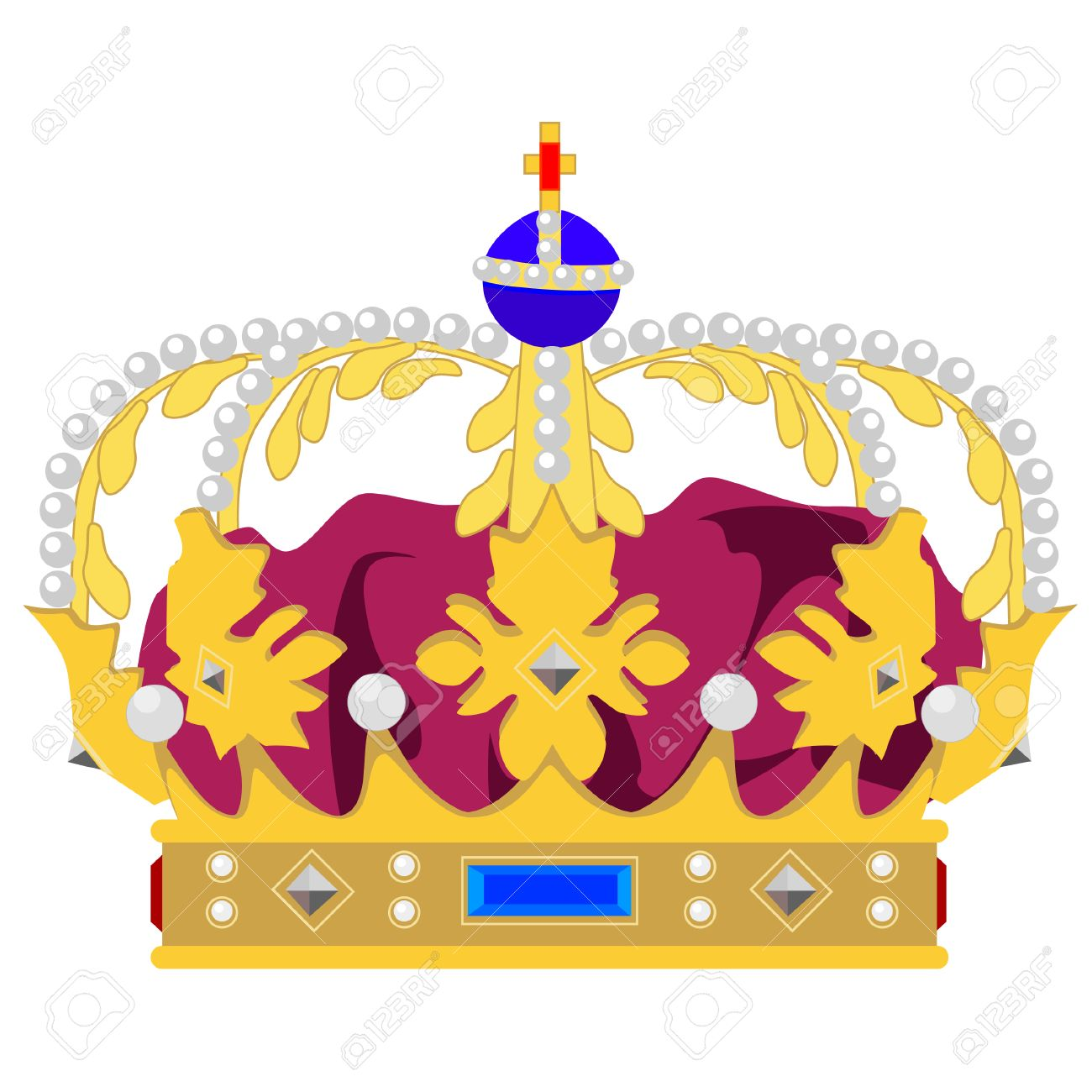 Golden Queen Crown Vector Isolated Medieval Crown King Crown
