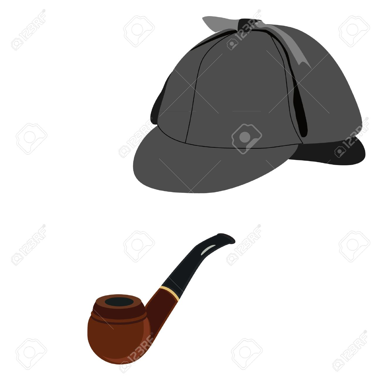 ff178551b Detective sherlock holmes hat and smoking pipe vector isolated,..