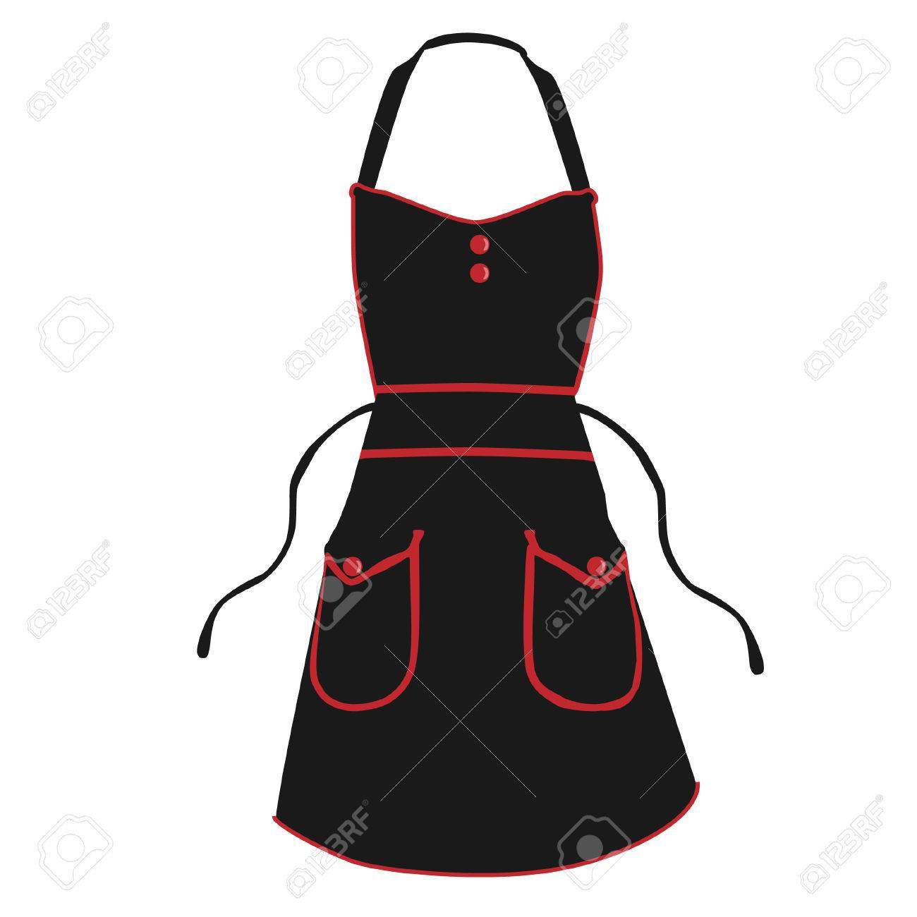 Black Kitchen Apron Vector Isolated, Chef Apron Royalty Free ...