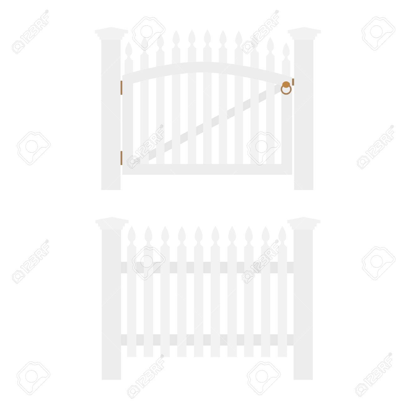 White Wooden Fence And Closed Garden Gate Isolated Royalty Free