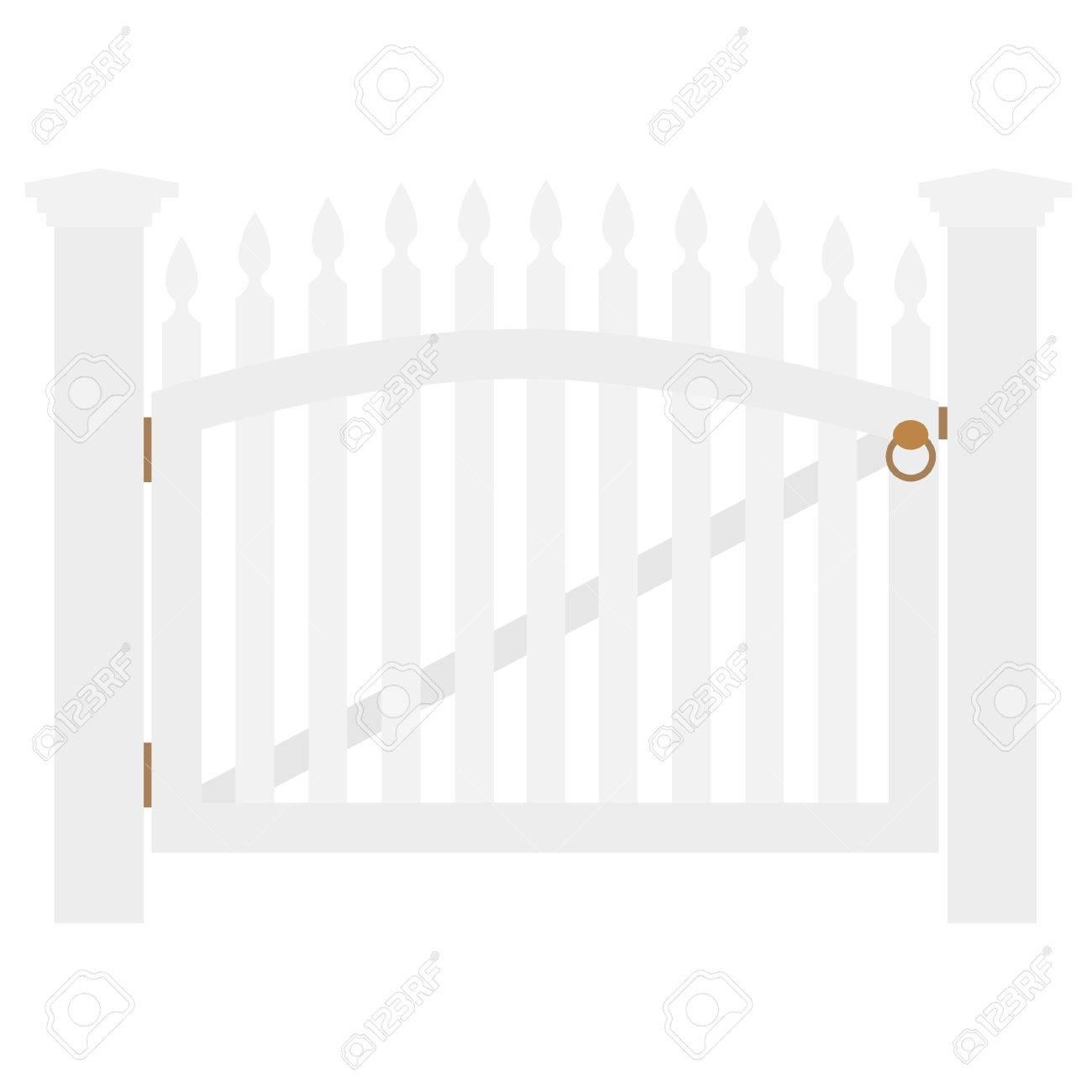 Weiss Holzzaun Und Geschlossenen Gartentor Mit Goldenem Griff