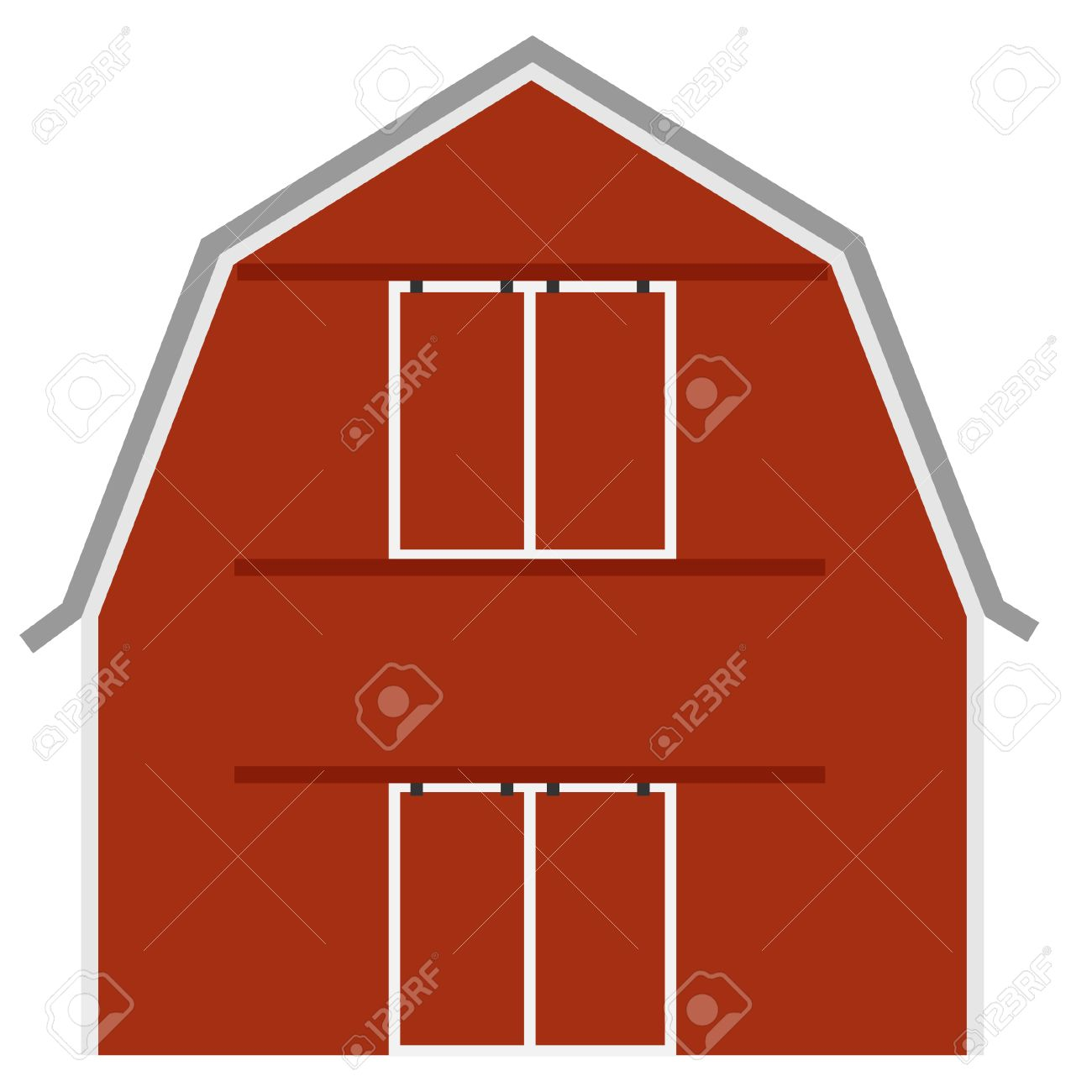 Cow on green pasture with red barn with grain silo royalty free stock - Red Silo Old Red Barn Ot Farm House Barn Door Vector Isolated