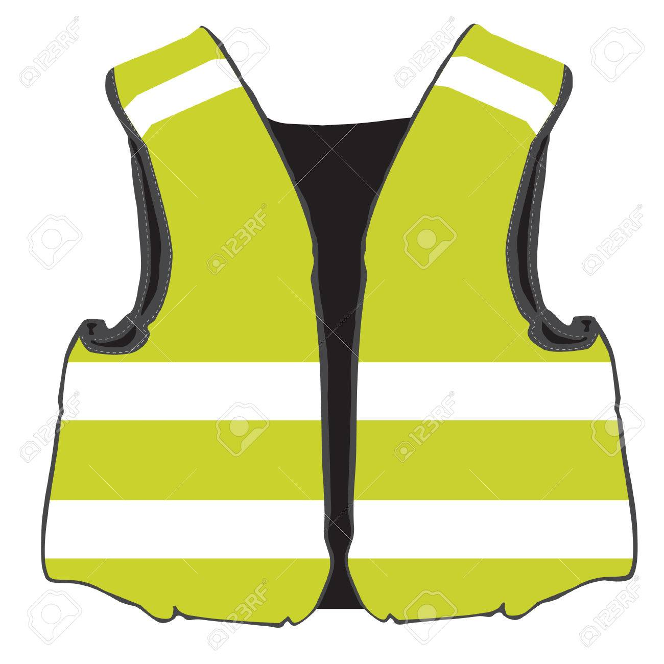 Yellow Safety Vest Vector Isolated Protective Workwear Worker Stock