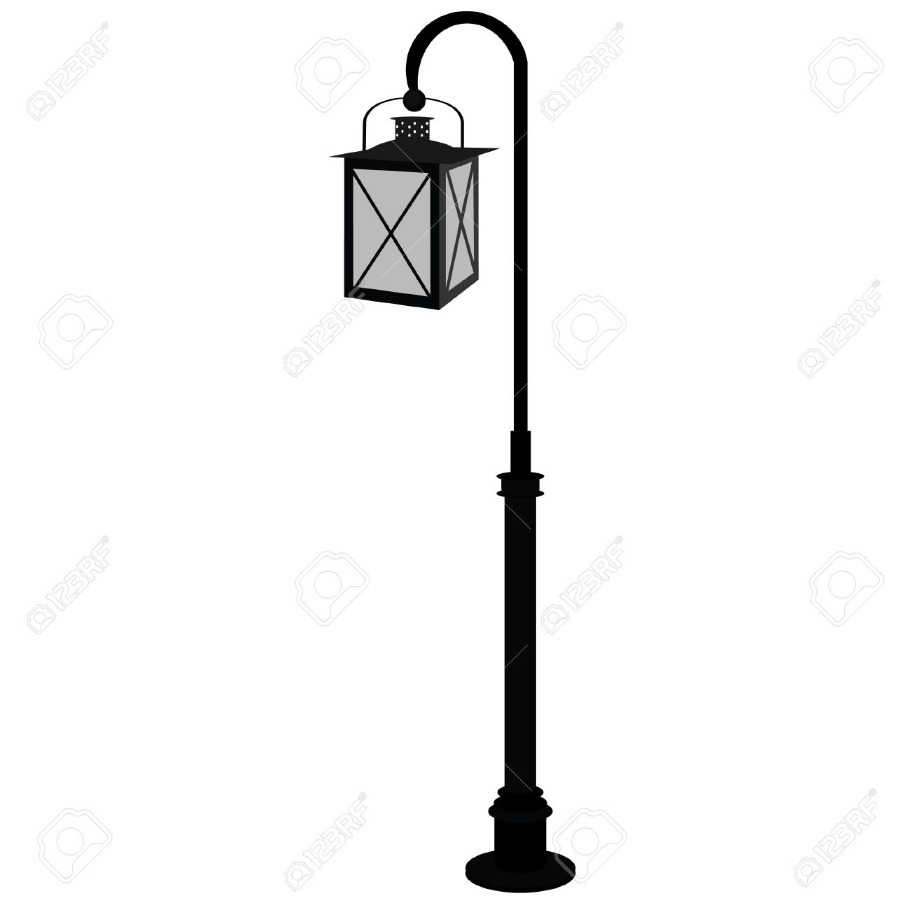 Black Street Lamp Vector Isolated, Antique Street Light, Vintage, Lampost  Stock Vector