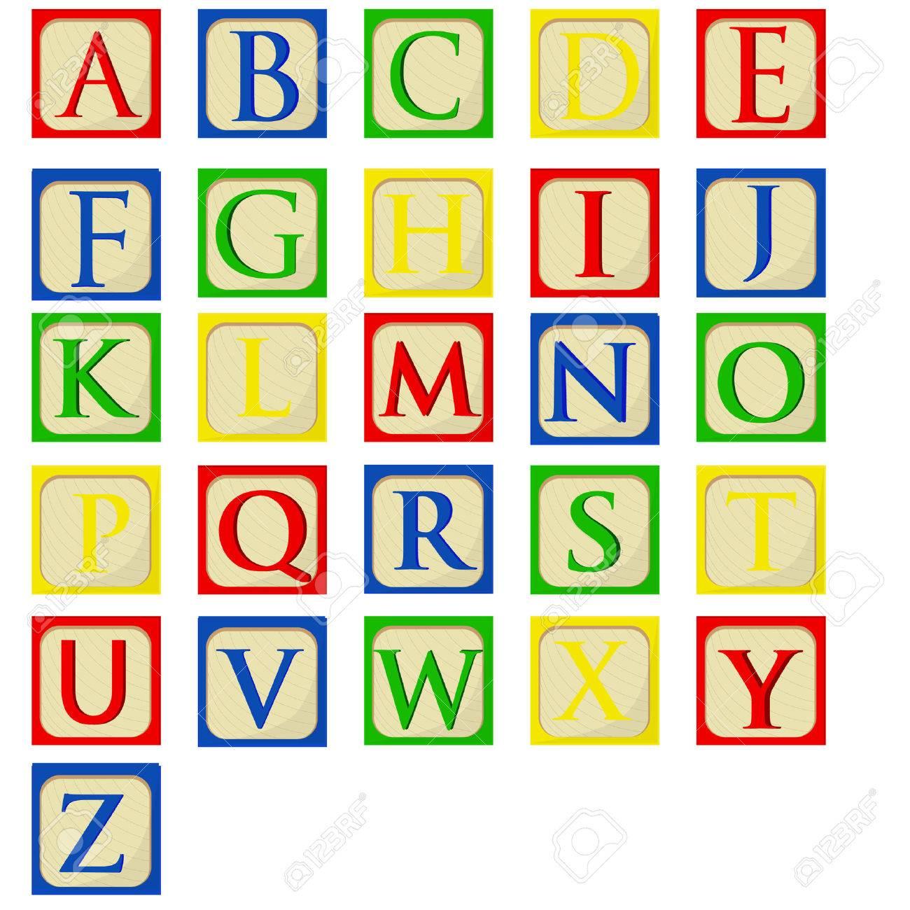 Bunte Alphabet Baby-Blöcke Vektor-Set, Bausteine, Lateinische ...