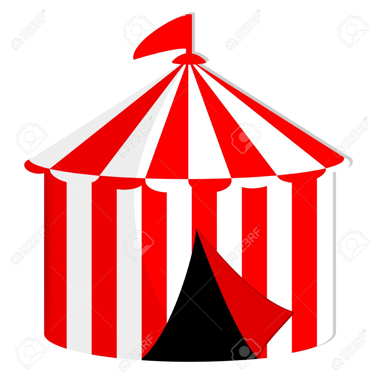 Red and white striped circus tent with flag vector icon isolated marquee carnival Stock  sc 1 st  123RF.com & Red And White Striped Circus Tent With Flag Vector Icon Isolated ...