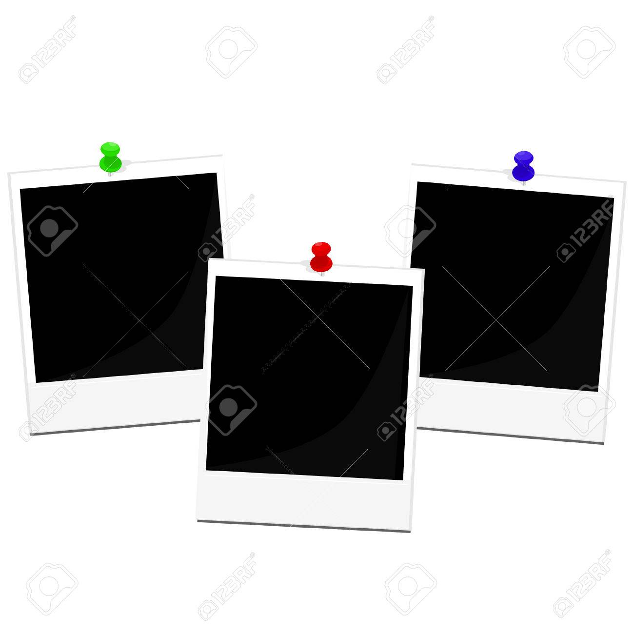 Polaroid Photo Frame With Red, Green And Blue Pin Vector Set ...