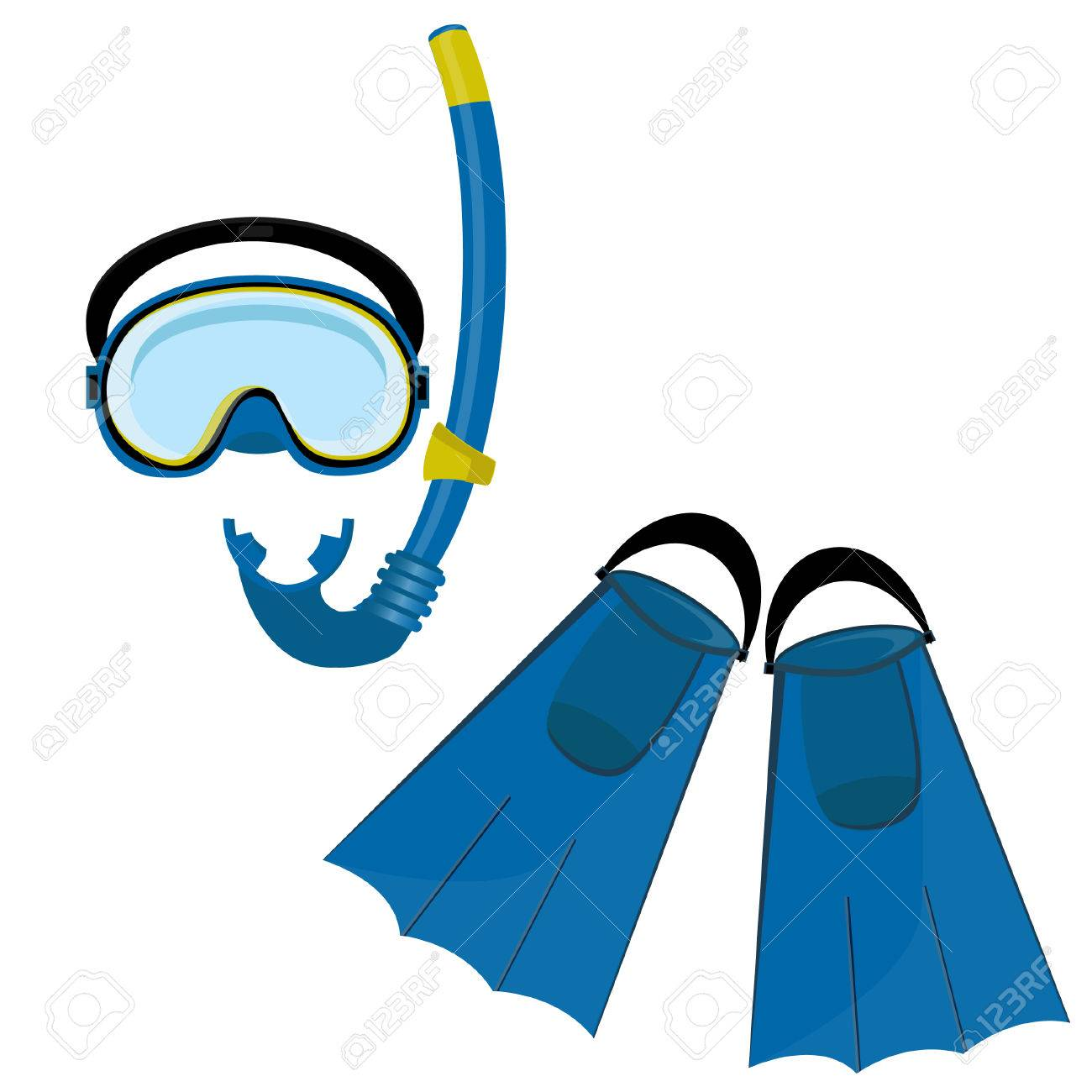 fd1b0b755b8 Blue diving maks, diving tube, swimming equipment, flippers Stock Vector -  40215894