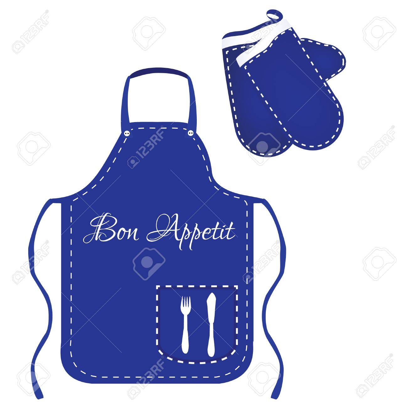 Blue Apron, Chef Apron, Kitchen Apron, Kitchen Mittens, Mittens Vector,  Apron