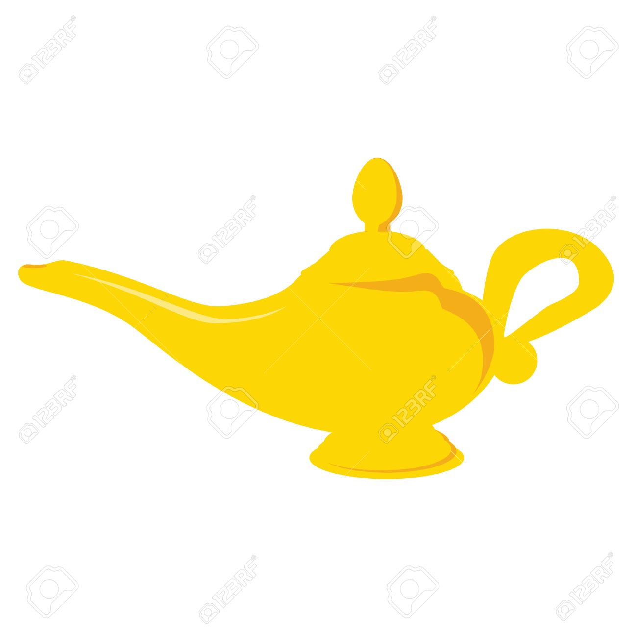 Golden Aladdin Magic Lamp Vector Isolated Alladin Lamp Aladin