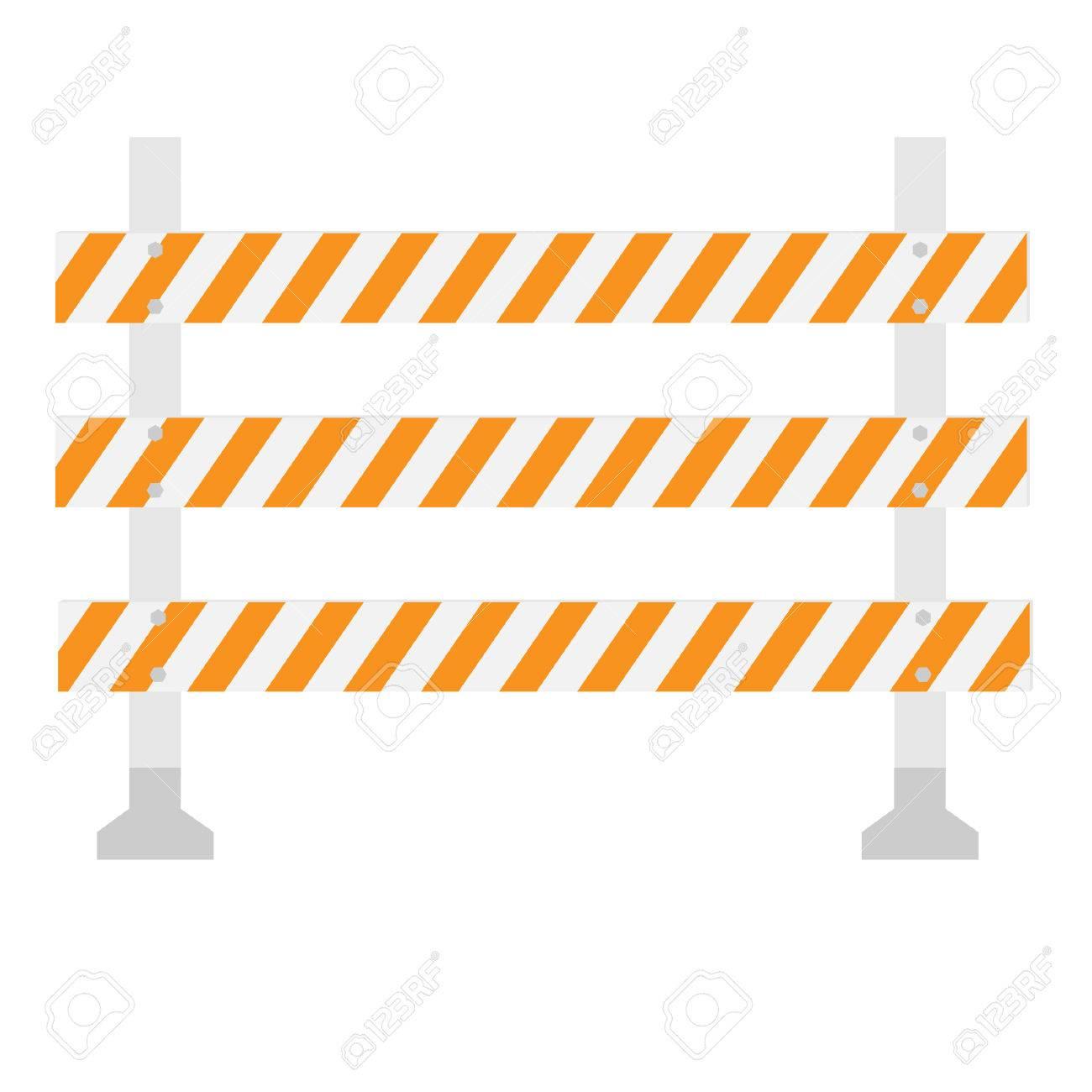 Orange Und Weiße, Dreifach, Gestreiften Schranke, Barrikade ...
