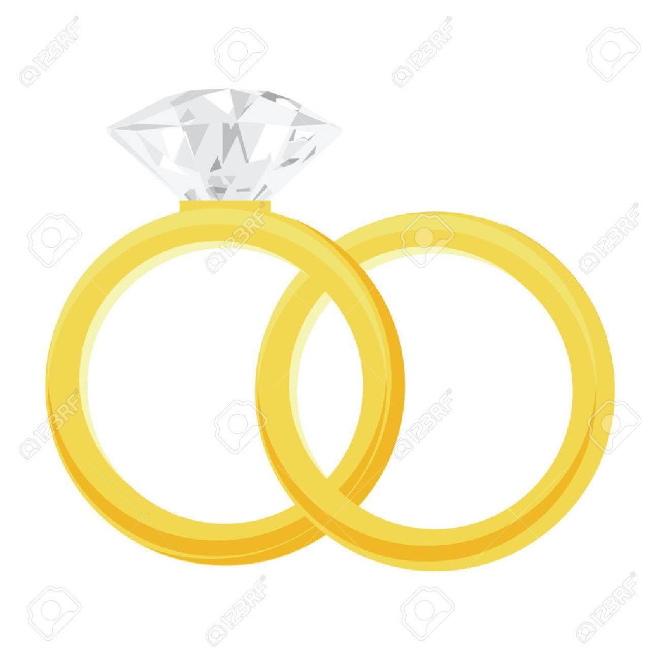 ゴールデン リングと大きく光沢のあるダイヤモンド リングはベクトル