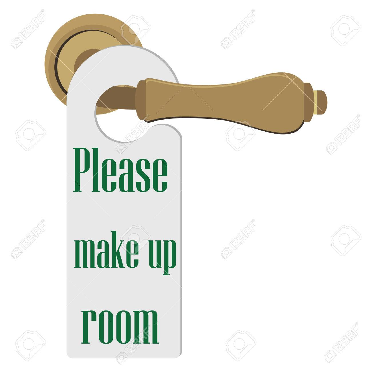 Door Handle With Please Make Up Room Sign Vector Illustration