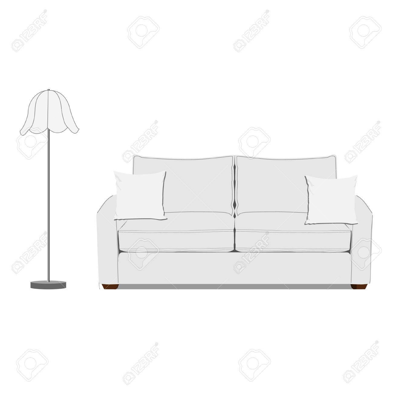 Vektor Illustration Der Weissen Sofa Mit Zwei Kissen Und Weiss Die