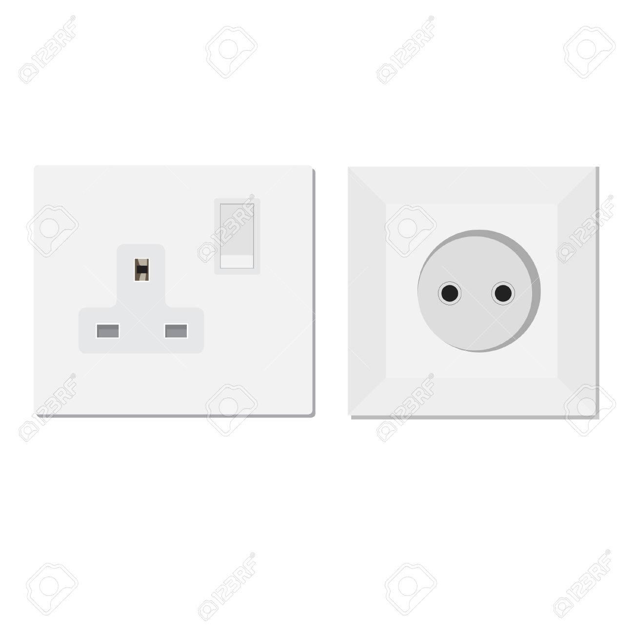 White European And Uk Socket Vector Illustration. Electric Socket ...