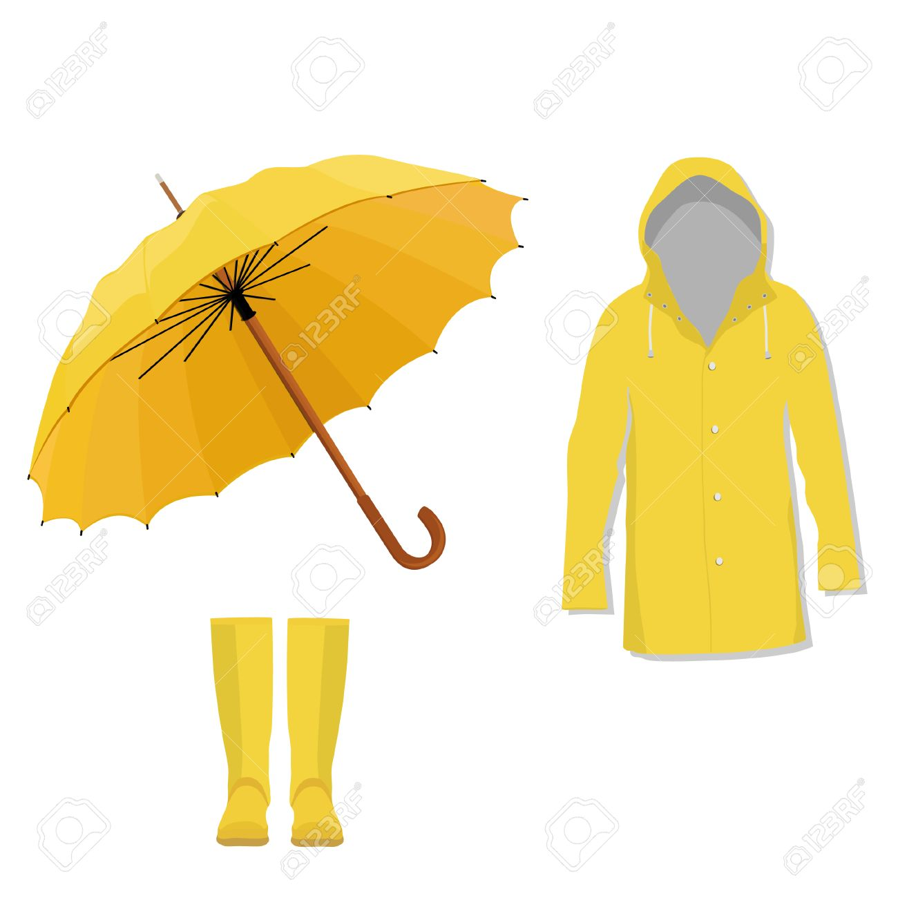 Boots fashion pic boots clip art - Yellow Raincoat Rubber Boots And Opened Umbrella Fashion Protection Stock Vector 44097519