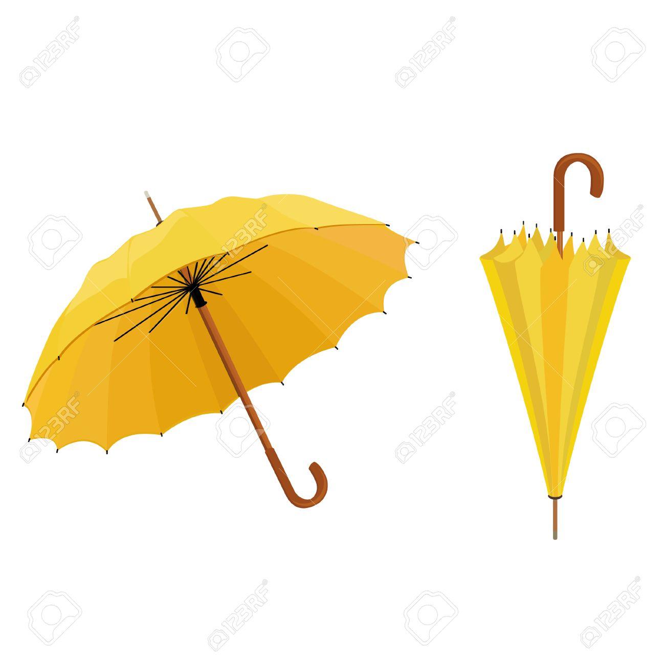 c6f27bf75 Two yellow umbrellas opened and closed vector illustration. Umbrella rain,  umbrella icon Stock Vector