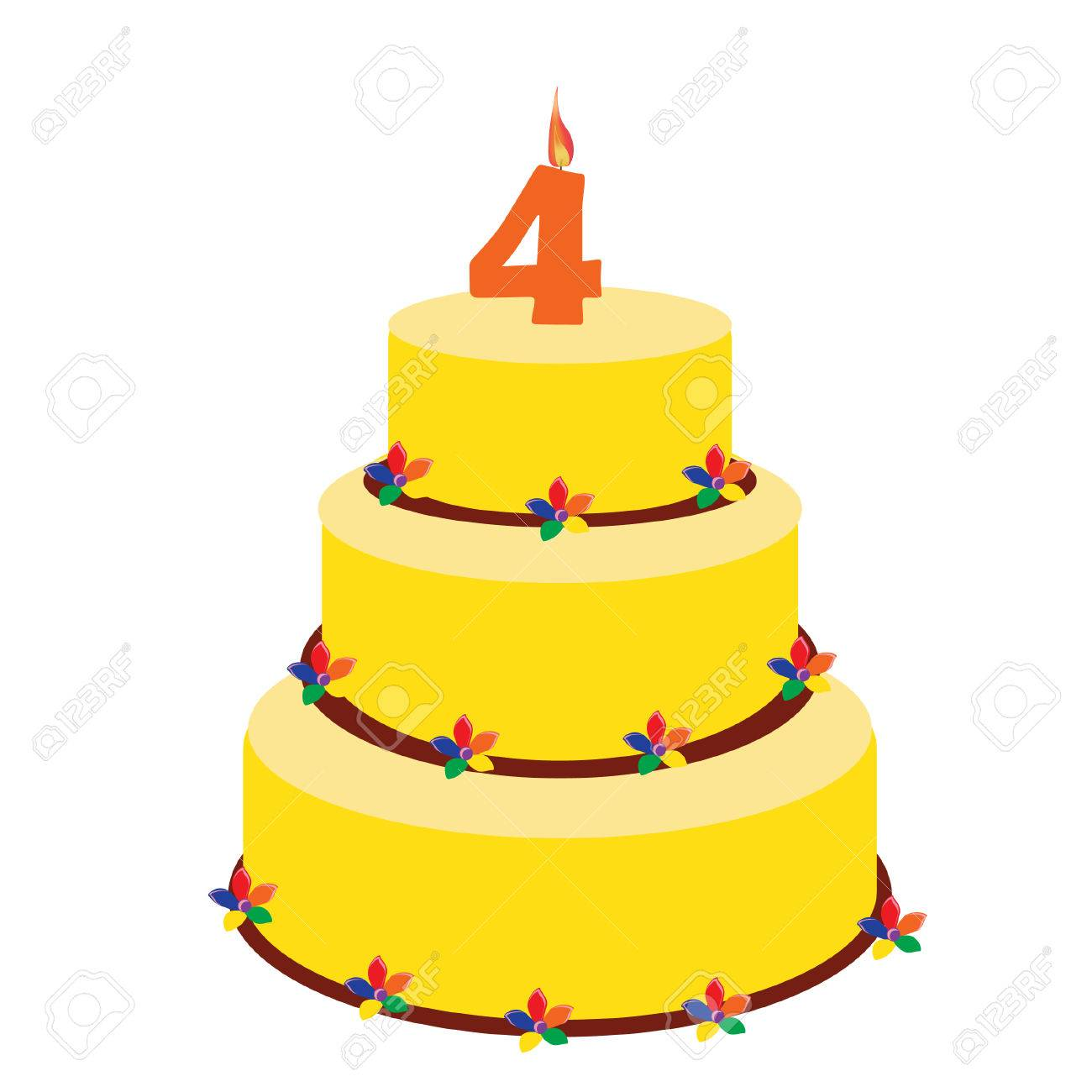 Sensational Birthday Cake With Birthday Candle Number Four On Top Fourth Funny Birthday Cards Online Sheoxdamsfinfo
