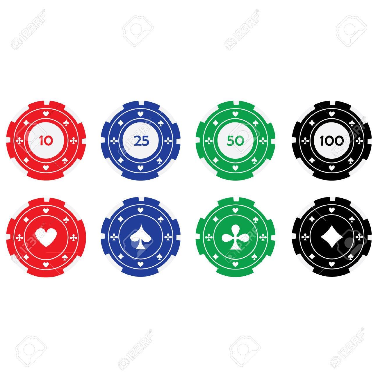Vektor Illustration Der Verschiedenen Farben Casino Chips Rot Blau