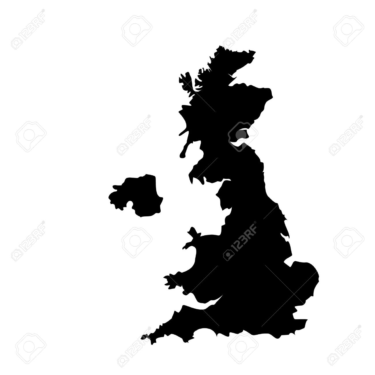 Vector Illustration Black Silhouette Of Uk Map England Map - United kingdom map vector