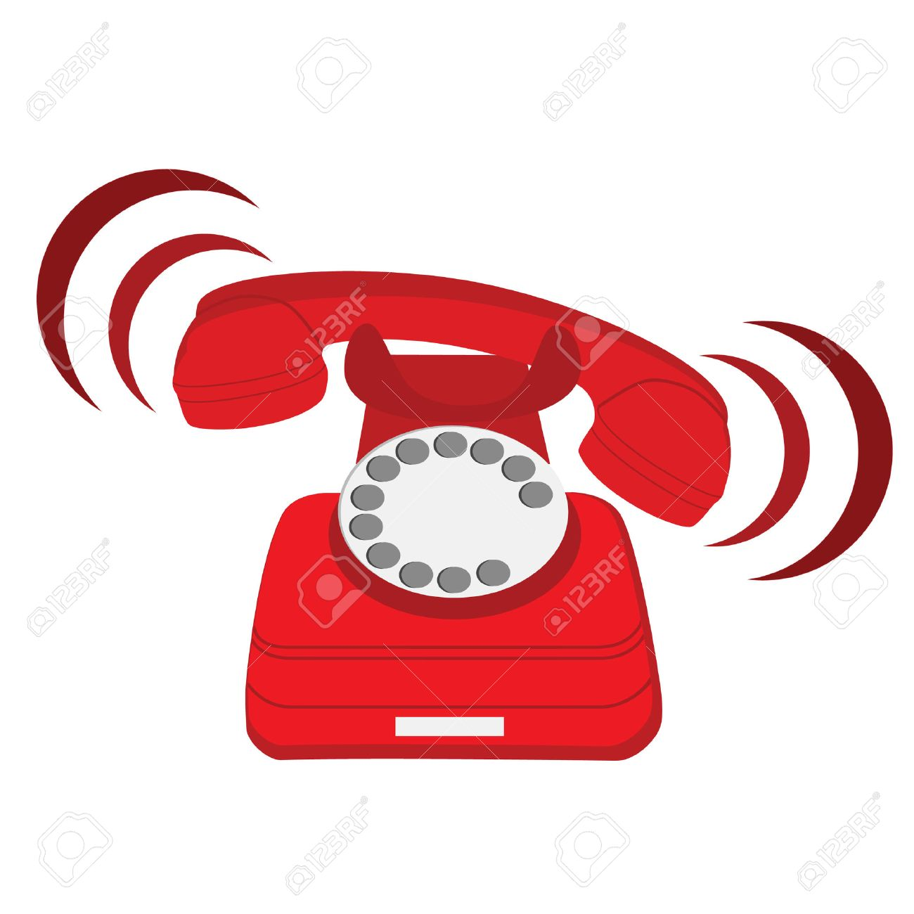 Vector illustration of ringing red stationary phone. Old red telephone. Red phone with rotary dial - 44108441