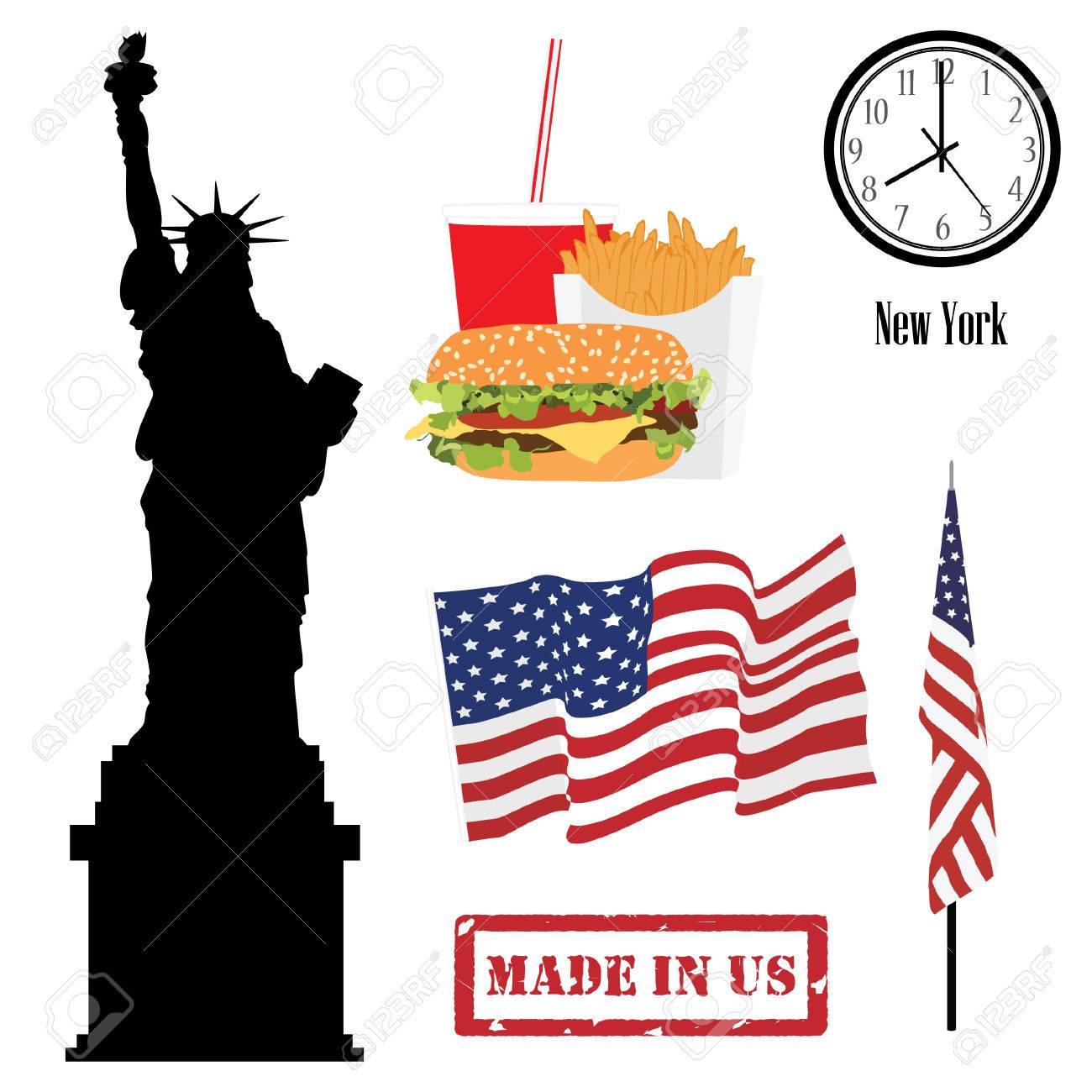 Vector Icon Set Of Usa Symbols Flag Of United States Of America