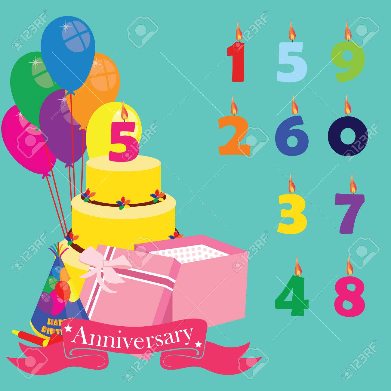 Anniversary Background With Icons And Elements Birthday Cake Candles Numbers Balloons Gift