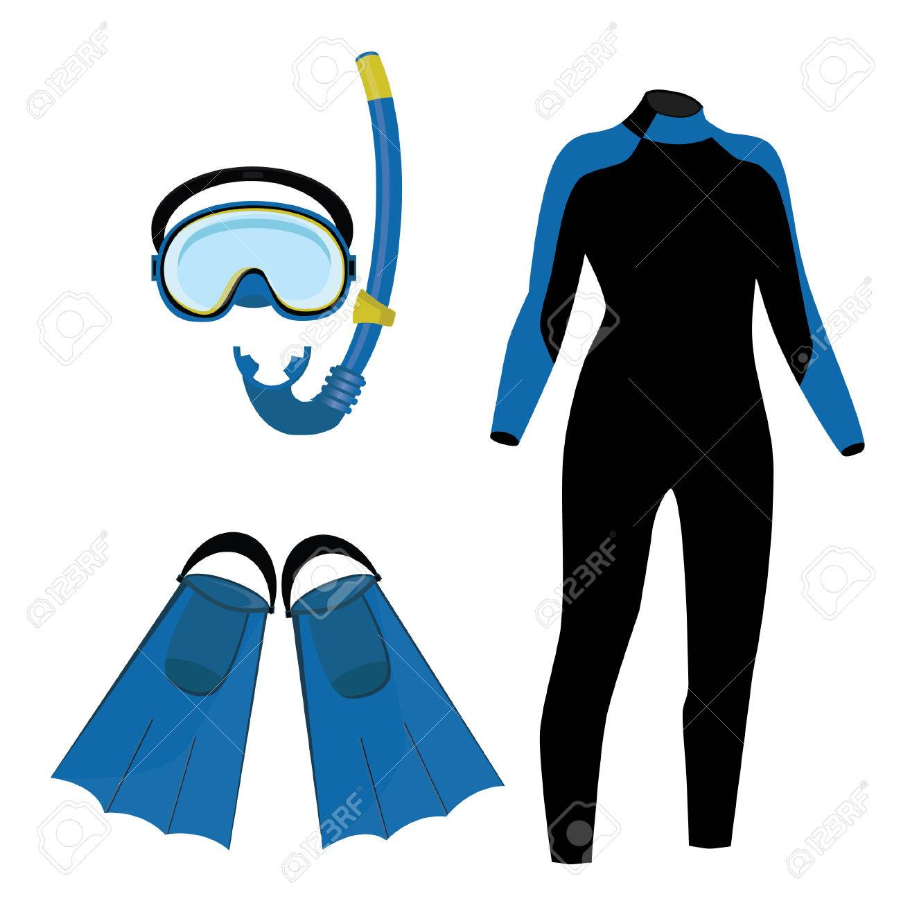 diving equipment vector icon set with blue diving mask and snorkel rh 123rf com Lunch Bag Clip Art Bus Clip Art