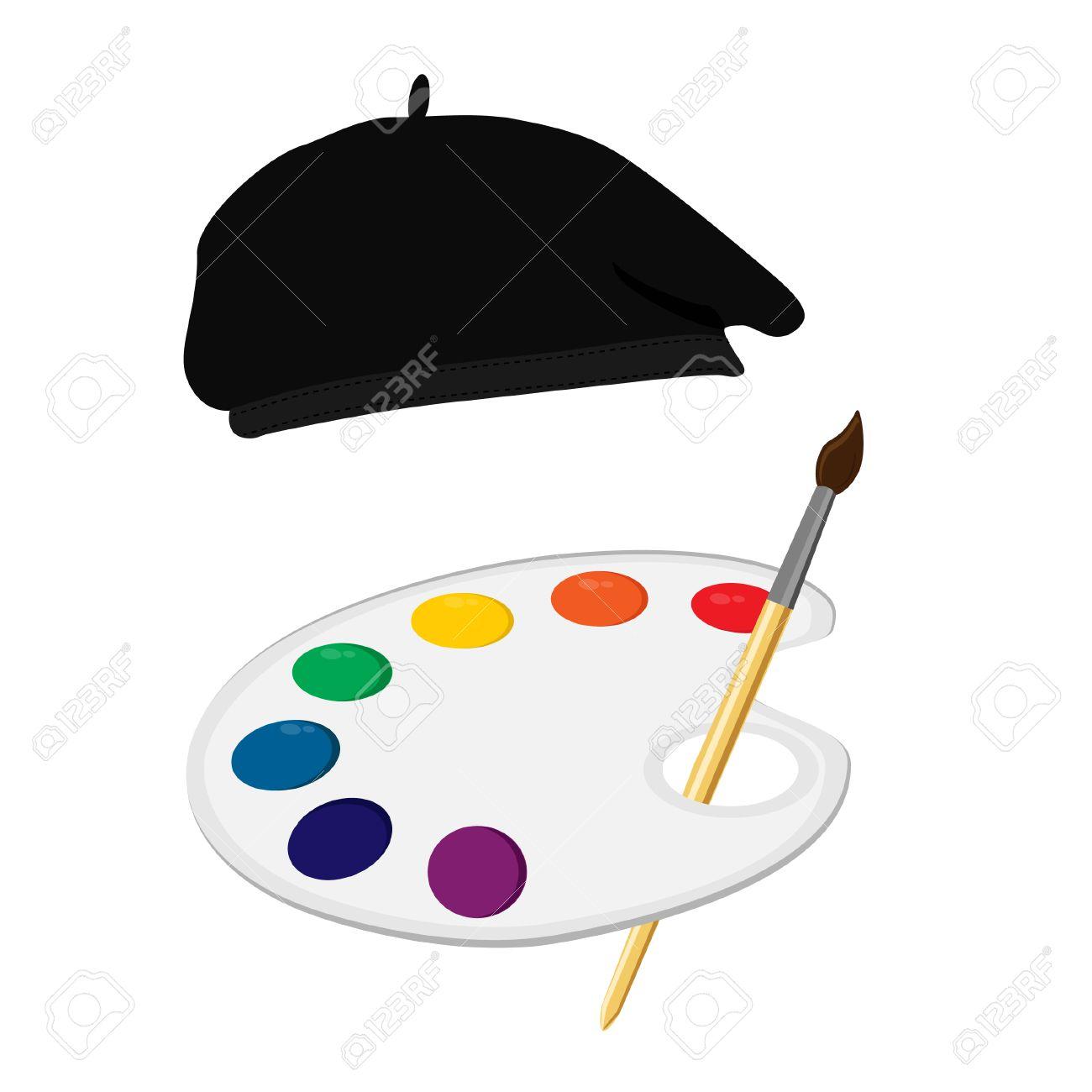 cc3ac9f48c77d Foto de archivo - Vector ilustración símbolo de pintor o concepto. Sombrero  de pintor
