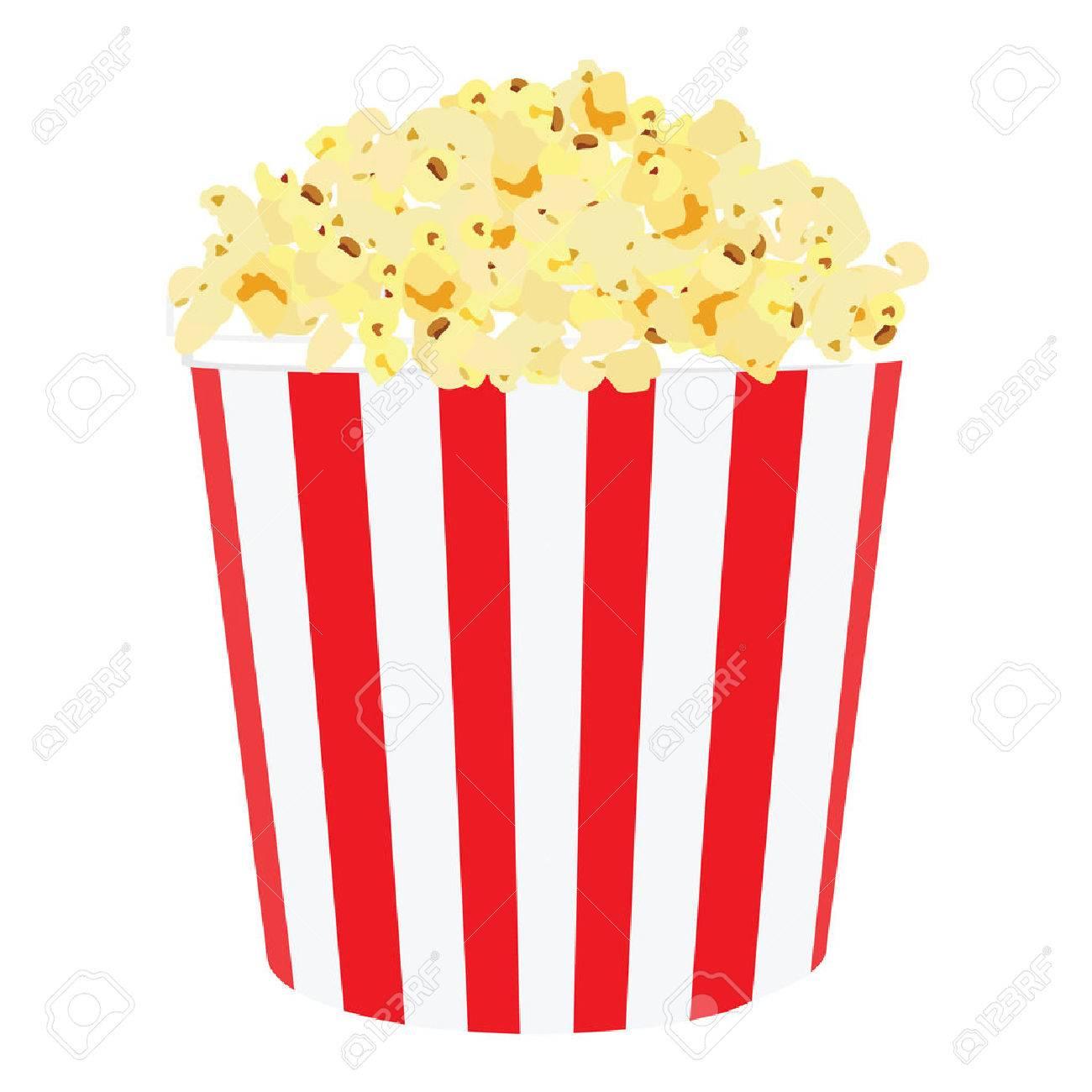 Vector illustration of movie popcorn. Popcorn in red and white striped box. Popcorn box. Paper bag with popcorn - 44108978