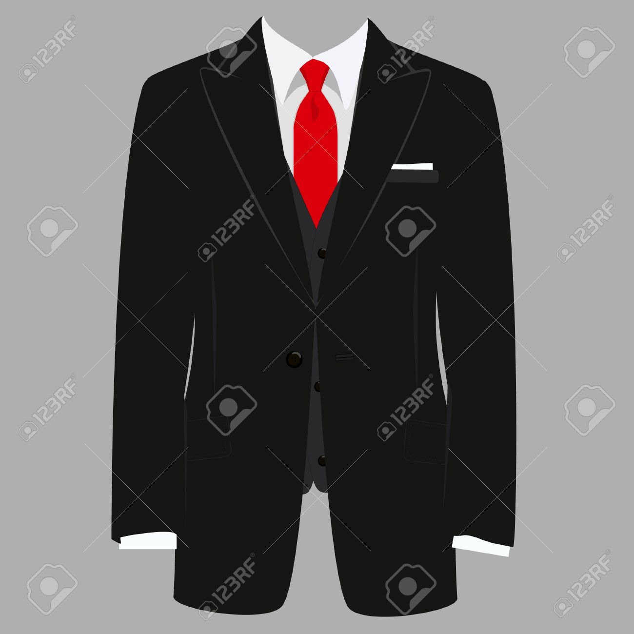b14d1616 Vector - Vector iillustration of black man suit with red tie and white shirt  on grey background. Business suit, business, mens suit, man in suit