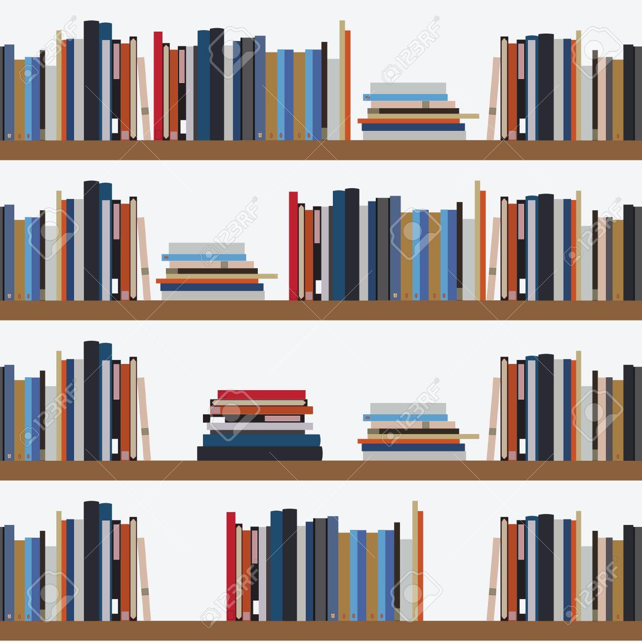 Seamless Etagere De Livre De Modele Avec Differents Livres Fond Bibliotheque