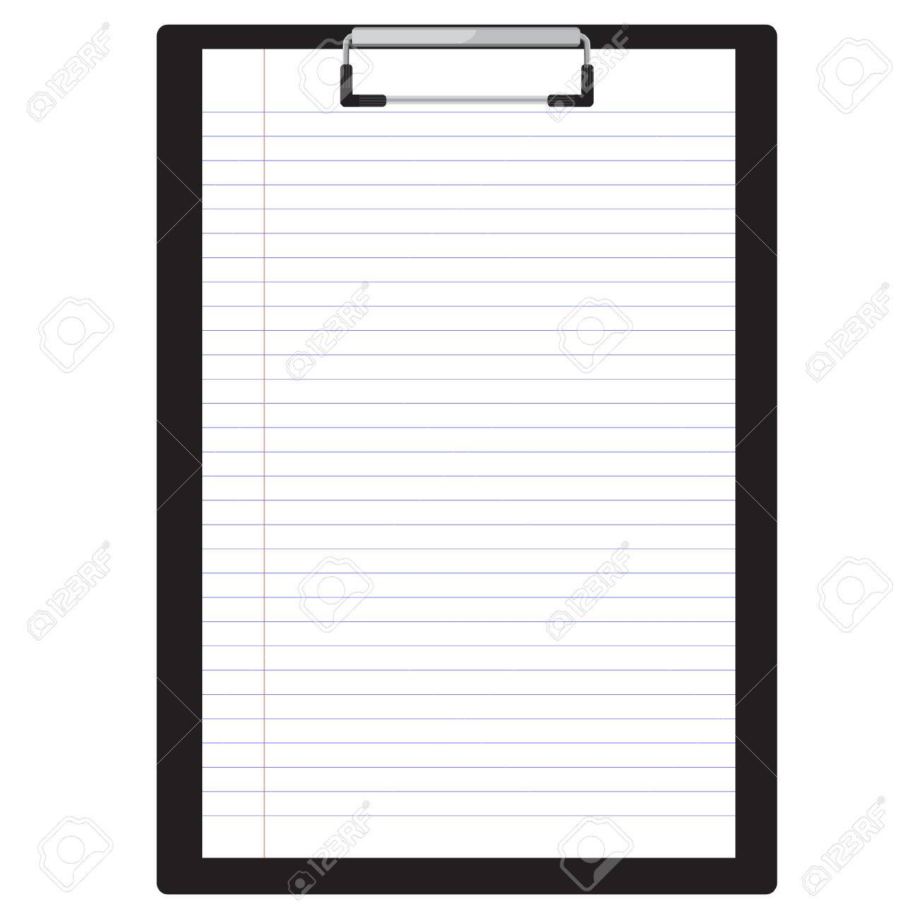 vector illustration of black clipboard with white blank paper