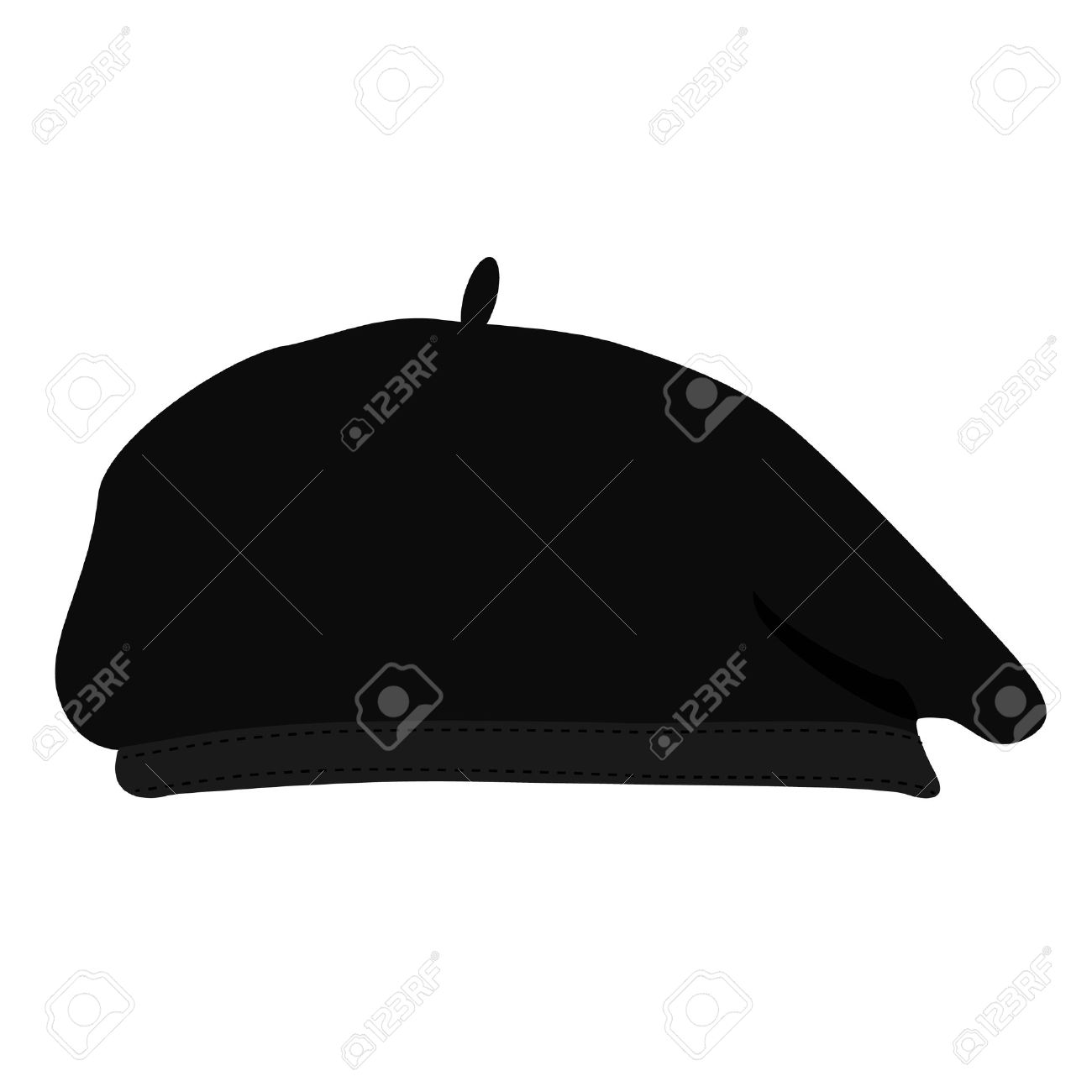 Vector illustration black silhouette of french beret. Painter hat. French hat. - 45651618