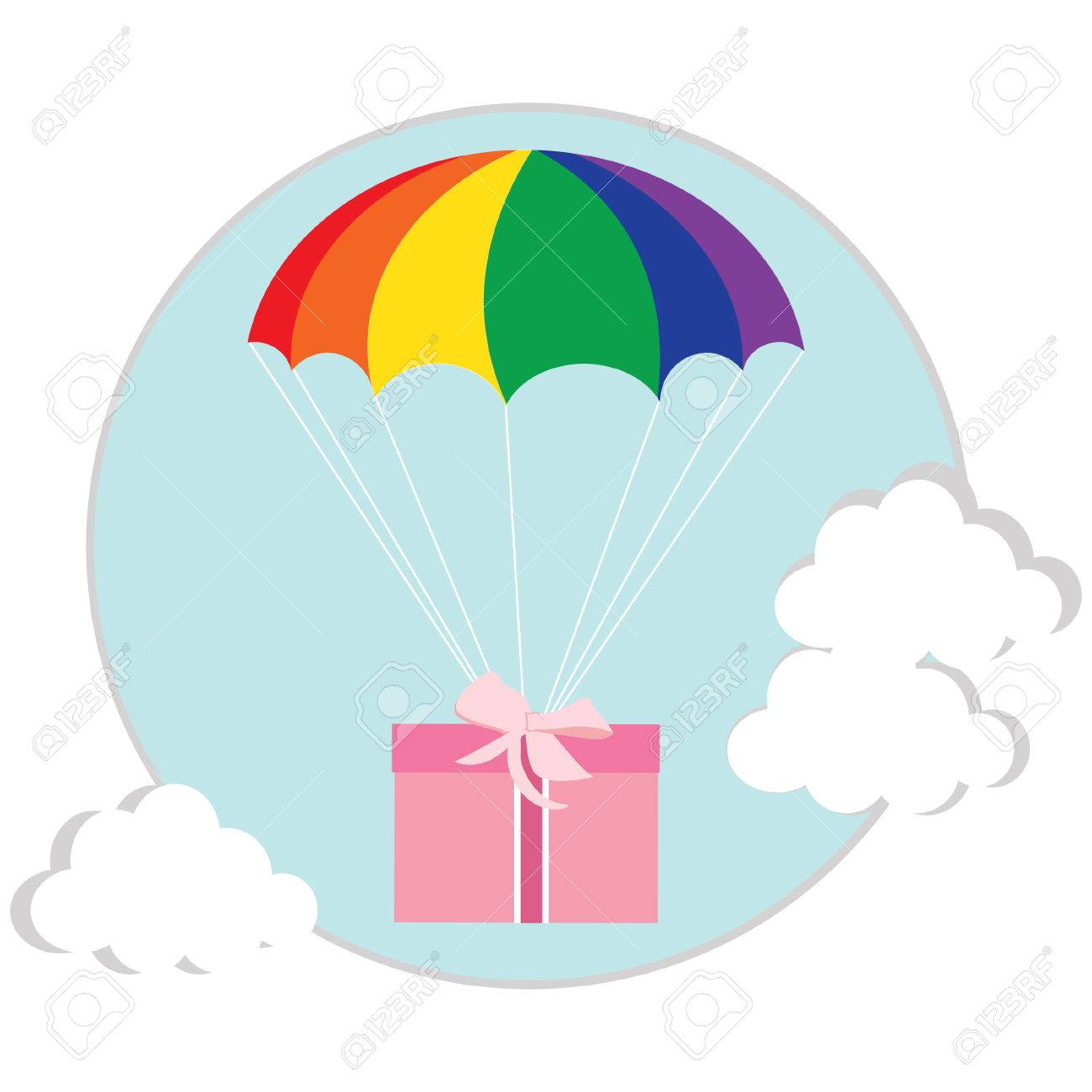 gift package flying with parachute vector isolated delivery rh 123rf com parachute vector art parachute vector micron