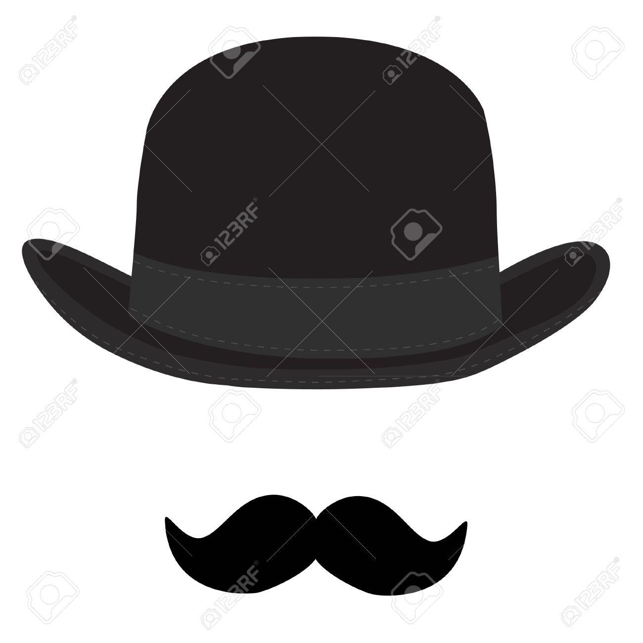 be26bfe5109d4 Illustration - raster illustration of black derby hat and mustache. Bowler  hat. Black fashion gentleman hat