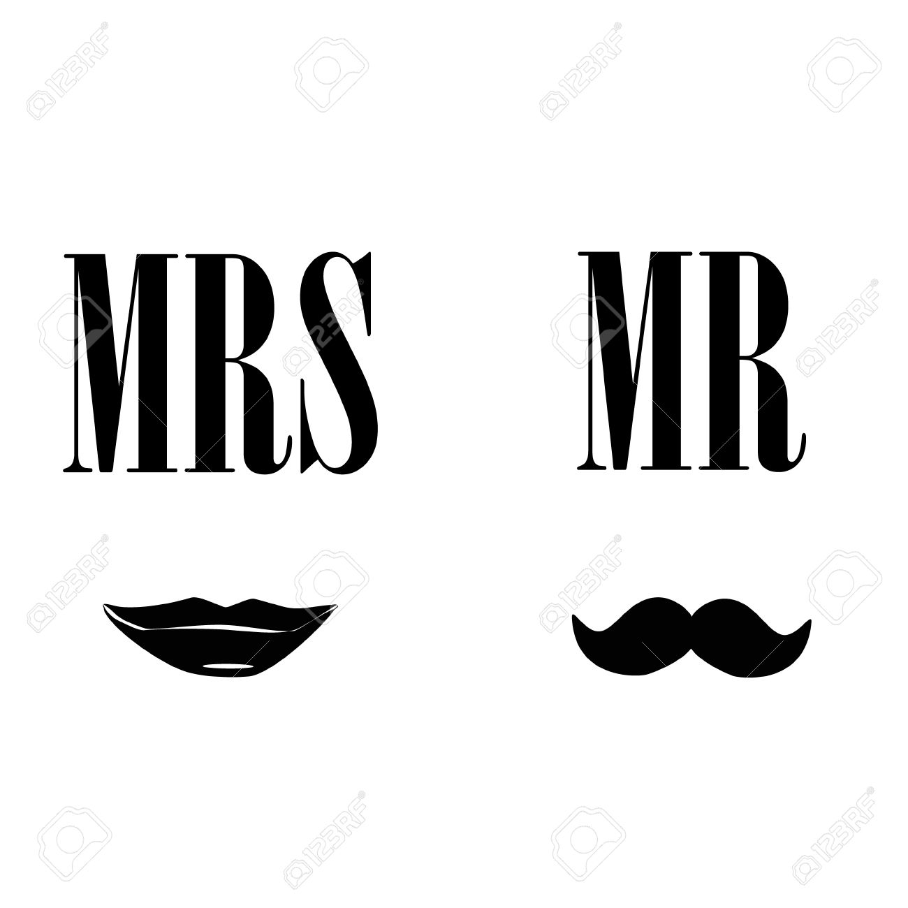 Ladies and gentleman vector illustration black silhouette lips kiss and mustache. Mrs and mr symbols - 45907008