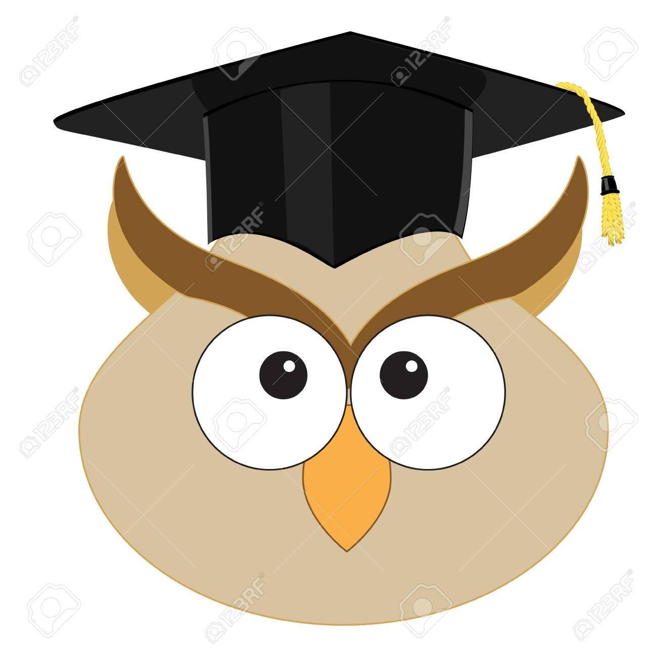Vector Illustration Of Cartoon Wise Owl In Graduation Hat Symbol Of