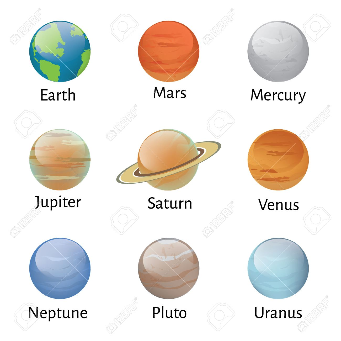 Vector illustration solar system planets icons on white background. Astronomy educational - 45907020