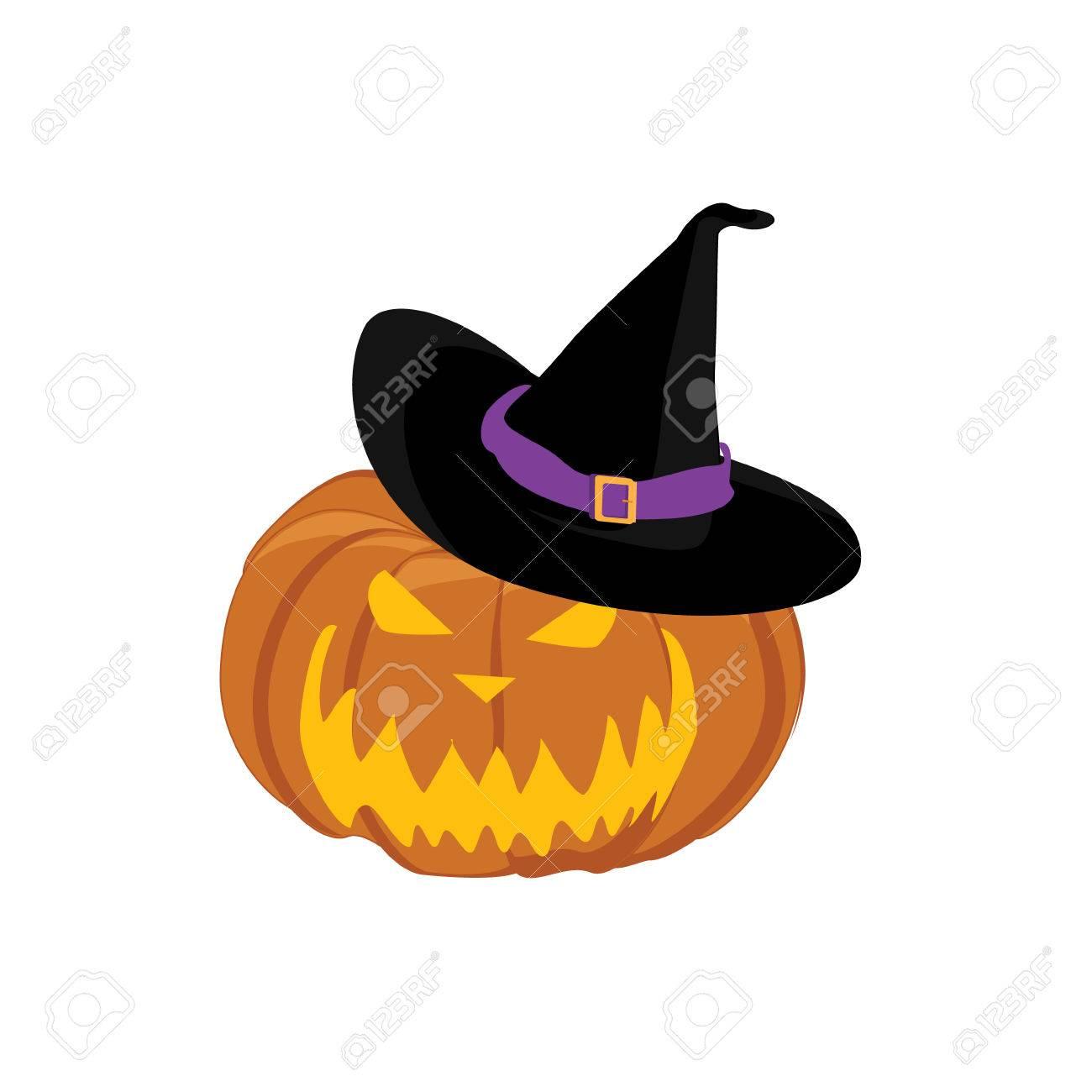 魔女帽子とベクトル イラストのハロウィンのカボチャジャック オ