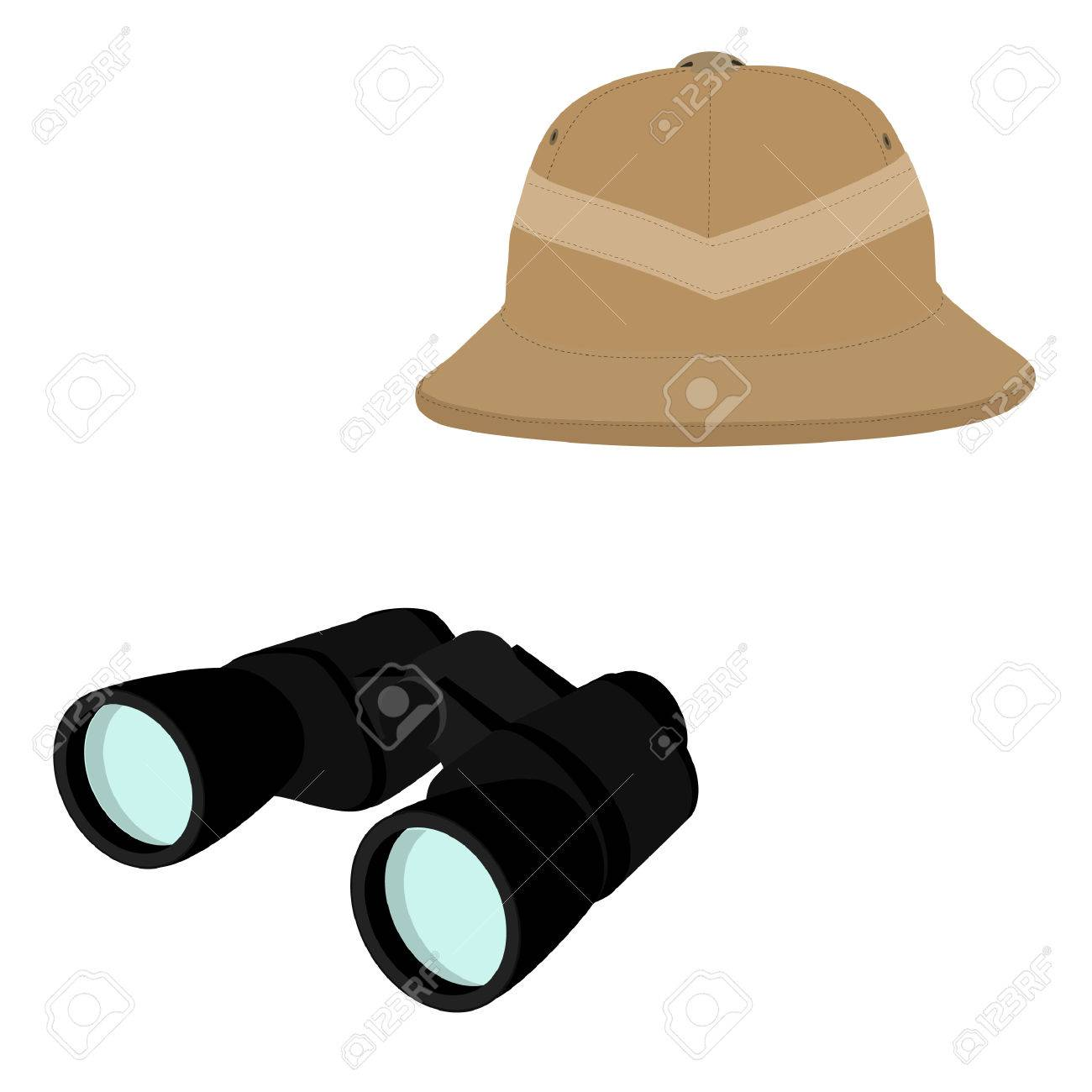 últimas tendencias de 2019 gama exclusiva pulcro Ilustración vectorial de sombrero de safari y binoculares negros. Concepto  de Safari. Viajando iconos médula casco y binoculares