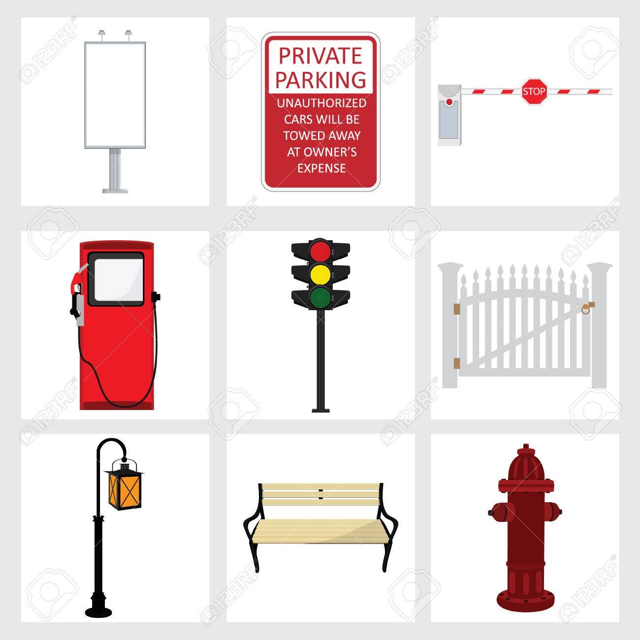 ベクトル ストリート要素のアイコンを設定しますベンチ街灯フェンス